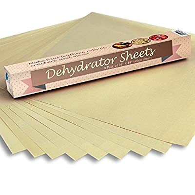 "Food Dehydrator Sheets, Set of 9 Premium 14"" X 14"" Non-stick Teflon, For Excalibur 2500, 3500, 2900 or 3900, By Chuzy Chef®"