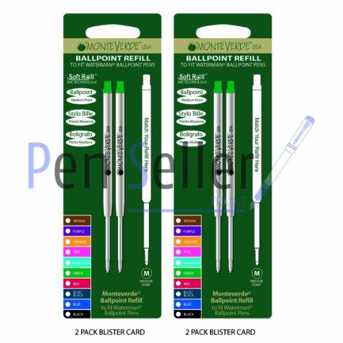 Monteverde: 4 Recharges Bille Soft Roll Vert Compatible Waterman, Pointe: M, Livrées en Blister (2 Blisters de 2 Recharges Chacun).