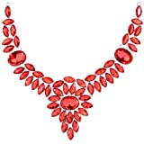 Yazilind Collar Leaf Oval Red Rose Crystal Noble Flower Bib Chunky Statement Necklace