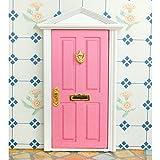 Dollhouse Puerta Exterior de Madera Miniatura 4 Paneles Llave Mueble para Casa de Mu�ecas -Rosado