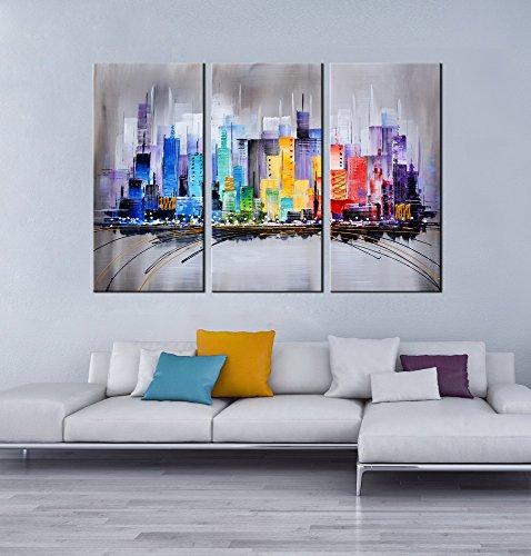Modern Art Artland Modern 100 Hand Painted Framed Wall Art Colorful City 3 Piece Gallery