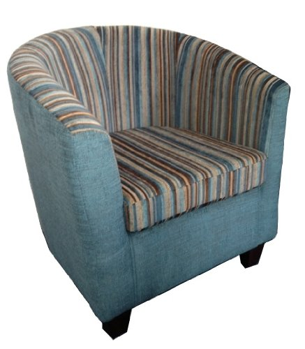Designer tub chair in Teal and Brown Stripe