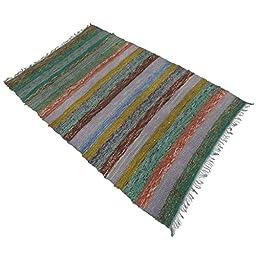 Handmade Chindi Rug Rag Hand Woven Dari Cotton Rug Floor Runner Indian Carpet 70X44 Inches