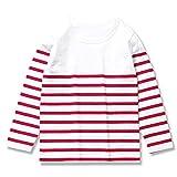 (ディーティー) DT キッズ M1-3 ボーイズ 綿100% Vネック&クルーネックパネルボーダー長袖 Tシャツ ロンT カットソー140 白地×赤ボーダー(クルー)