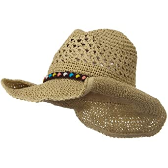 Ladies Crochet Cowboy Hat - Khaki