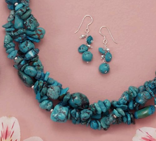 Turquoise Nuggets, 4mm Sterling Bead Necklace ONLY, 3-Strand, Lobster Clasp, 17+2 inch Ext.