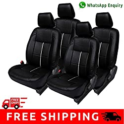 Autofact Brand (Economical Range) PU Leatherite Car Seat Covers for Maruti Car 800 Old Model in Black and Silver Strip