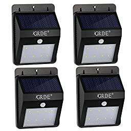 4X [Bigger 8 LED] 160Lumens Wireless Solar Motion Sensor Light Outdoor Waterproof Security Lighting- Motion Detector with Bright/ Dim Mode; Day/ Night Auto ON/OFF for Deck Garden Outside Wall(4 Pack)