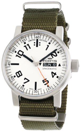 Fortis Men's 623.10.42 N.11 Spacematic Swiss Automatic Luminous Day and Date Green Nylon Strap Watch