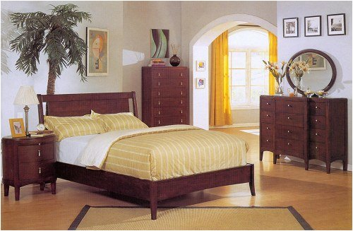 Queen Bedroom Set In Chocolate Finish
