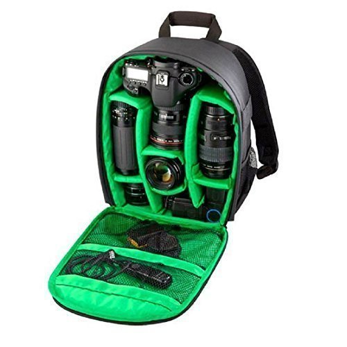tongshi Zaino cassa della macchina fotografica DSLR impermeabile per Canon per Nikon per Sony (verde)