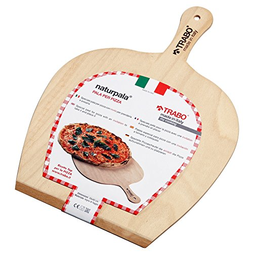 TRABO - Naturpala per pizza in legno di faggio 100% MADE IN ITALY