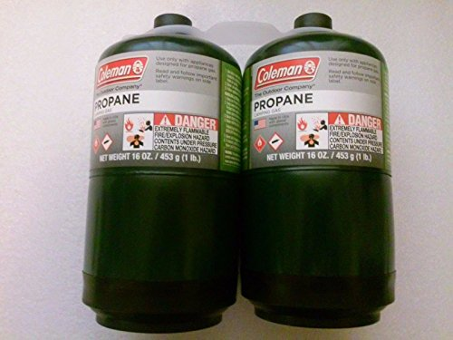 COLEMAN Propane Gas Fuel Cylinder 16 oz 1lb Outdoor Camping Stove Fuel LOT OF 2 (Propane 16 Oz compare prices)
