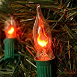 Set of 7 Flickering Flame Plug-in String Lights - C9 Bulb - Connectable up to 9 Strands