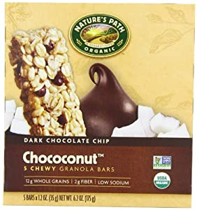 Nature's Path Organic Granola Bars,Dark Chocolate Chip  Chococonut,1.2 oz- 5 Count Bars (Pack of 6)