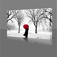 COLOURED RED UMBRELLA IN THE SNOW STUNNING Large 77cm x 55cm Gallery Framed Giclee Canvas Art Picture Print Ready To Hang Modern Wall Art from PhotoShock