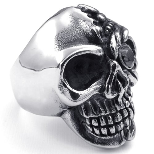 Konov Jewelry Mens Cubic Zirconia Stainless Steel Ring, Gothic Skull, Black Silver, Size 8