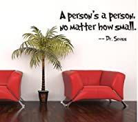 Toprate(TM) Quote Dr Seuss A person's a person,no matter how small, Wall Art Vinyl Decals Stickers Quotes and Sayings Home Art Decor Wall Sticker Decal Love Kids Bedroom by Toprate(TM)