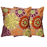 "Rutbaa Beige Thread Floral 16""X16"" Embroidered Cushion Cover - (Set Of 2)"