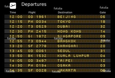 Wallmonkeys Peel and Stick Wall Graphic - Airport Departure Board - Destinations in Asia - 24