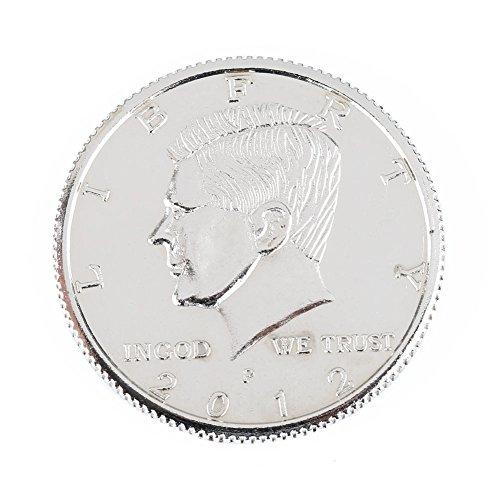 【手品グッズ】 マジックマグネットコイン フリップ式デザイン 磁気付き ケネディ・ハーフダラー・コイン アメリカ50セント  折畳式 シルバー -