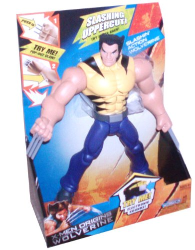 Buy Low Price Hasbro X-Men Origins Wolverine 10 Inch Tall Action Figure – Slashin' Action Wolverine in Yellow and Black Stripes Shirt with Electronic Sounds, Pop Out Claw and Slashin' Uppercut (B002SUC3SW)