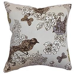 The Pillow Collection Ouvea Birds Pillow, Smoke