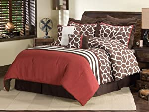 Sanders Home Collection Anya Designer 8-Piece Decorative Comforter Bedding Set Queen Size, Brown
