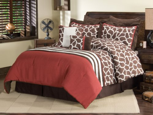 Sanders Home Collection Anya Designer 8-Piece Decorative Comforter Bedding Set Queen Size, Brown