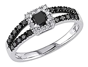 Black and White Princess and Round Diamond Ring 1/2 Carat (ctw) in 10k White Gold, Size 7.5