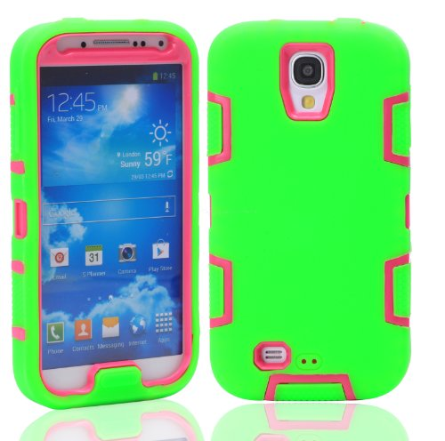 Magicsky Robot Series Hybrid Armored Case For Samsung Galaxy Iiii S4 I9500 - 1 Pack - Retail Packaging - Hot Pink/Green