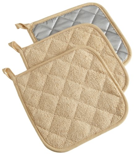 DII 100% Cotton, Machine Washable, Heat Resistant, Quilted Terry, Potholder for Cooking and Baking, 7 x 7