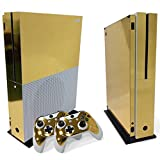 WPS Glossy Protecive Vinyl Decal Skin / stickers Wrap Cover For Xbox One S slim Console + 2 controller (Gold glossy)