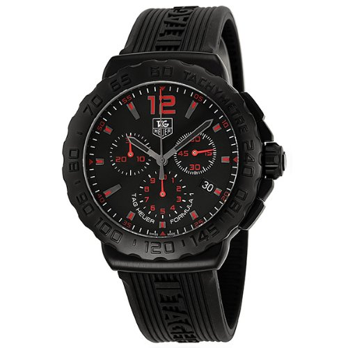 Tag Heuer Formula 1 Chronograph Black Dial Black Rubber Mens Watch CAU111A.FT6024