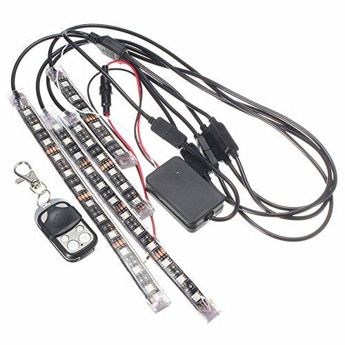 AUDEW 4 en 1 Moto/Voiture Ruban LED RGB 30-5050SMD Lampe Décoration Intérieur de Voiture 3 Mode d'Éclairage avec Télécommande Étanche IP67 Auto Atmosphère Pied Lights Bande Strip DC 12V