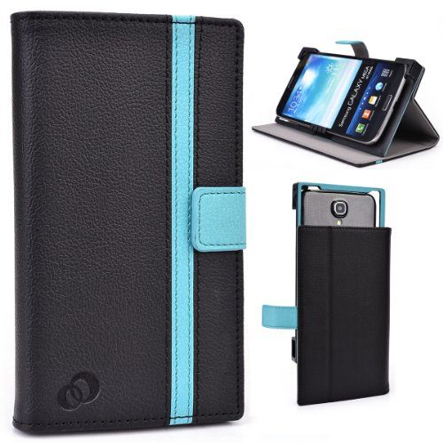 Smartphone Universal Case With Stand Fits Huawei Ascend Mate Mt1-U06 - Black And Teal