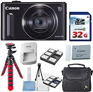 Canon PowerShot SX610 HS - Wi-Fi Enabled (Black) with 32GB High Speed Memory Card + Deluxe Camera Case + Flexible Spider Tripod + Starter Kit + Deluxe Accessory Bundle