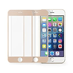 multifun Tempered Glass Screen Protector for Apple iPhone 6s/iPhone 6 4.7 inch 0.2mm Ultra Thin Color Frame 2-Pack Gold