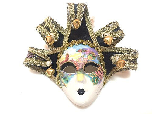 Black Jollini Miniature Ceramic Venetian Mask