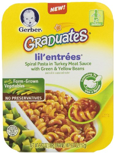 Gerber Graduates Lil Entreees Spiral Pasta with Turkey Meat Sauce, 6.67 oz., 8 Count - 1
