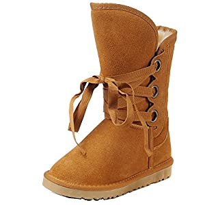 MILANAO Womens' Tan Fashion Casual Lace-up Flats Straps Snow Boots 9 B(M) US