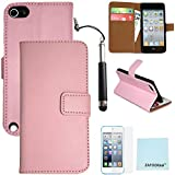 iPod Touch 5th 6th Generation Genuine Leather Case, iPod Touch 5/6 Case Genuine ZAFOORAH Credit Card Wallet Stand with 3 Bonus items Stylus, Screen Protector, Microfiber Cloth (Genuine Leather Wallet Stand - Light Pink)