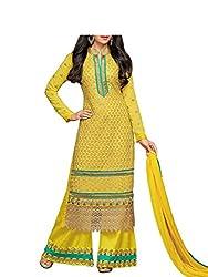 Admyrin Women Yellow Georgette Dress Material