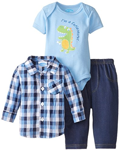 Bon Bebe Baby-Boys Newborn I'M A Cutiesaurus Bodysuit Woven Shirt And Pant Set, Multi, 6-9 Months back-1070639