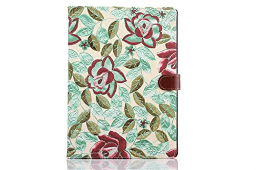 Apple Ipad Air 2 Case Borch Fashion Luxury Multi-Function Protective Floral Series Leather Light-Weight Folding Flip Smart Case Cover For For Ipad Air 2 (Green)