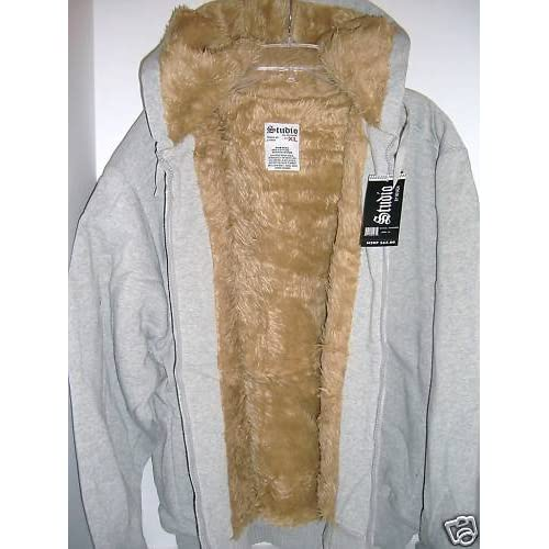 Amazon.com: Men's Studio Faux Fur Lined Hoodie Sweatshirt Gray Size M