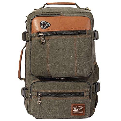 KAUKKO Vintage Canvas Backpack Outdoor Rucksack Hiking Travel Shoulder Bag Daypack Army Green (Vintage Mail Bag compare prices)
