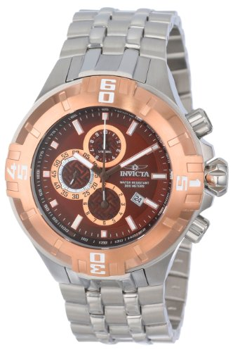 Invicta Pro Diver Men's Quartz Watch with Brown Dial  Chronograph display on Silver Stainless Steel Bracelet 12357