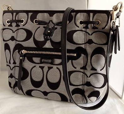 Coach 25676 Daisy Outline Signature Metallic Drawstring Shoulder Bag 100
