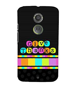 Give Thanks 3D Hard Polycarbonate Designer Back Case Cover for Motorola Moto X2 :: Motorola Moto X (2nd Gen)